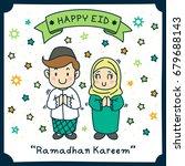 happy eid mubarak greeting.... | Shutterstock .eps vector #679688143