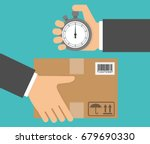 delivery in time concept. hand... | Shutterstock .eps vector #679690330
