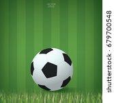 Soccer Ball On Grass Field Are...