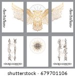 a set of cards with a style of... | Shutterstock .eps vector #679701106