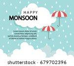 happy monsoon season background ... | Shutterstock .eps vector #679702396