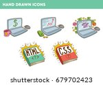 hand drawn icons cute hand... | Shutterstock .eps vector #679702423