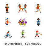 athletes icon set | Shutterstock .eps vector #679705090