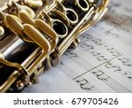Clarinet with sheet music close ...