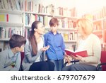 teacher and mother with sons on ... | Shutterstock . vector #679707679