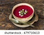 beetroot soup garnished with...   Shutterstock . vector #679710613
