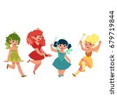 set of fairy girls in colorful... | Shutterstock .eps vector #679719844
