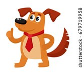 funny brown house dog character ... | Shutterstock .eps vector #679719958