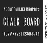 retro chalk board alphabet font.... | Shutterstock .eps vector #679721194