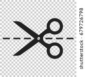 Scissors Icon With Cut Line....