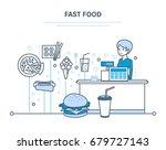 woman working in fast food... | Shutterstock .eps vector #679727143