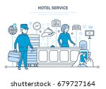 people working in hotel  staff. ... | Shutterstock .eps vector #679727164