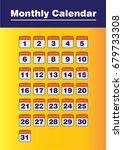 orange monthly calendar vector | Shutterstock .eps vector #679733308