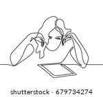continuous line drawing. young... | Shutterstock .eps vector #679734274