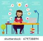 man working on computer. work... | Shutterstock .eps vector #679738894