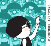 happy girl making selfie on...   Shutterstock .eps vector #679749514