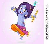 cartoon little krishna dancing... | Shutterstock .eps vector #679751218