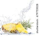 fresh pineapple falling in water   Shutterstock . vector #679755028