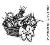 basket full of fruits  organic... | Shutterstock .eps vector #679757884