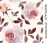 seamless rose pattern | Shutterstock .eps vector #679763458