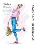 cute stylish girl in fashion... | Shutterstock .eps vector #679772989