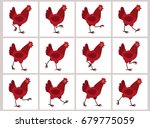 walking red hen sprite sheet...