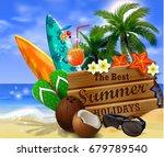 wooden board on tropical... | Shutterstock .eps vector #679789540