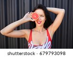 girl in a red swimsuit loses...   Shutterstock . vector #679793098