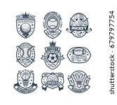 9 sport logo blue vector   Shutterstock .eps vector #679797754