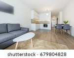 modern living room and kitchen... | Shutterstock . vector #679804828