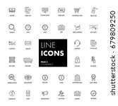 line icons set. e commerce pack.... | Shutterstock .eps vector #679809250