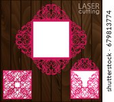 laser cut square envelope with... | Shutterstock .eps vector #679813774