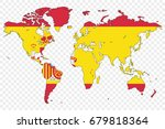 an outline of the world with... | Shutterstock .eps vector #679818364