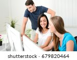 group of young people in a... | Shutterstock . vector #679820464