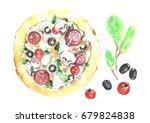 watercolor  pizza.   Shutterstock . vector #679824838