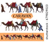 Camels Caravan Illustration Set