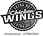 extra hot chicken wings stamp | Shutterstock .eps vector #679842964
