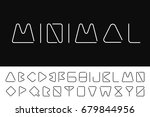 thin minimalistic font.... | Shutterstock .eps vector #679844956