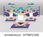 girl in gym  sport training in...   Shutterstock .eps vector #679851358