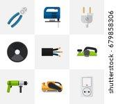 set of 9 editable electric flat ...