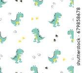 cute dinosaurs pattern. vector...   Shutterstock .eps vector #679858678