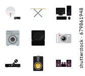 set of 9 editable tech flat...