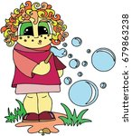 funny girl blowing bubbles in...   Shutterstock .eps vector #679863238