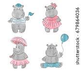 set of cute cartoon baby hippo. ... | Shutterstock .eps vector #679864036
