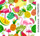 vector seamless tropical... | Shutterstock .eps vector #679869550