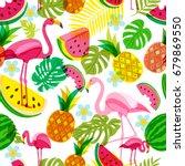vector seamless tropical... | Shutterstock .eps vector #679869550