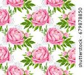 peony flowers seamless pattern... | Shutterstock . vector #679878850
