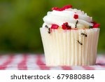 Small photo of Closeup view of ants on a cupcake. There are several ants. Cupcake is on a checkered tablecloth.