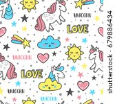 vector pattern with unicorns ... | Shutterstock .eps vector #679886434