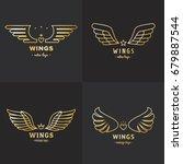 gold wings outline logo vector...   Shutterstock .eps vector #679887544